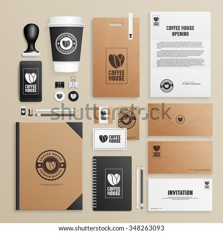 Corporate identity mock up for coffee house, shop, cafe. Business set of envelope, notebook, card, folder, paper bag, menu, paper cup, etc. Vector illustration. - stock vector