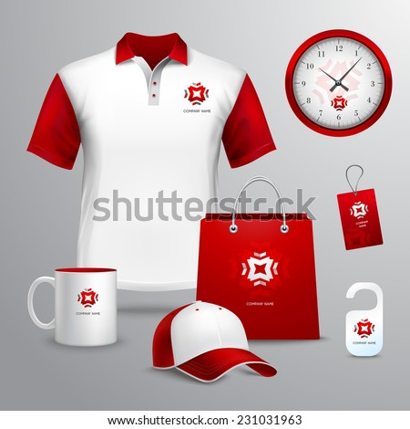 Corporate identity red template decorative set with paper bag tag mug vector illustration - stock vector