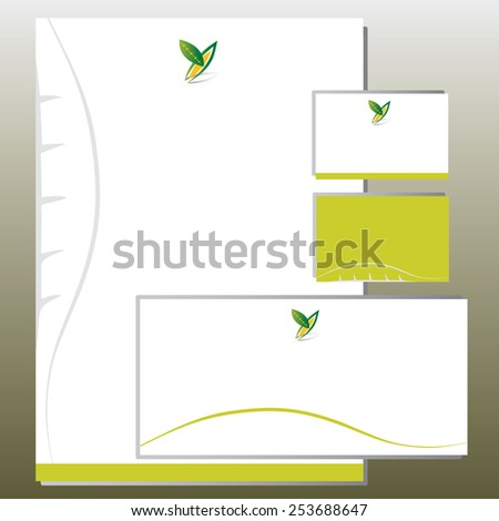 Corporate Identity Set - Foliage in Y Letter Shape - Green - stock vector