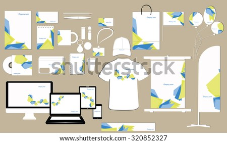 Corporate identity template design on the color background. Business stationery. - stock vector