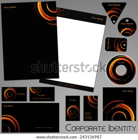 Corporate identity template. Editable set. Design including business paper, cards, ID, CD, envelope and key chain. Vector illustration. - stock vector