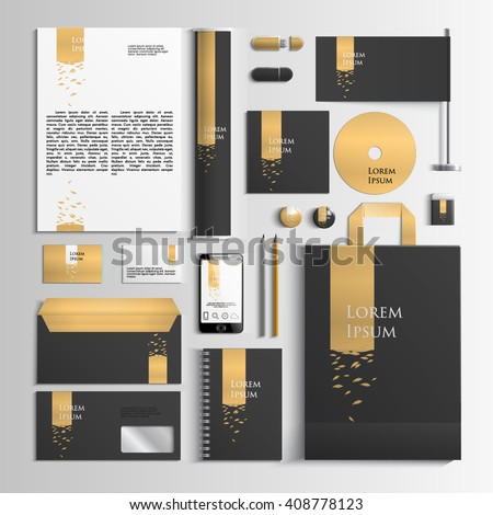 Corporate identity template in black and gold colors with an illustration with leaves. Vector company style for brand book and guideline. EPS 10 - stock vector