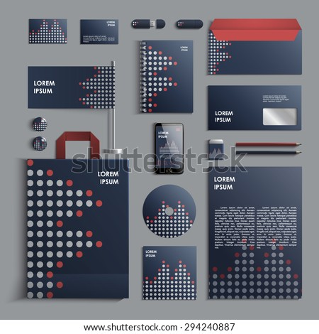 Corporate identity template in blue and grey colors with pattern of circles. Vector company style for brandbook and guideline. EPS 10 - stock vector