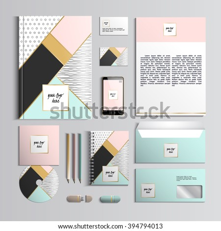 Corporate identity template in pink and turquoise colors with hipster creative patterns. Vector company style for brand book and guideline. Stylish and clear branding. EPS 10 - stock vector