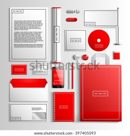 Corporate identity template in white and red colors with geometric elements. Vector company style for brandbook and guideline. EPS 10 - stock vector