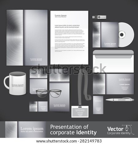 Corporate identity template, metal style - stock vector