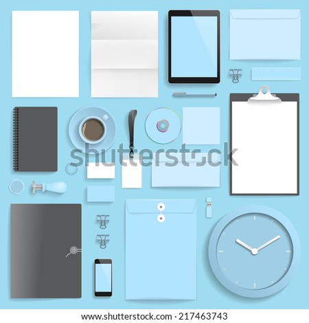 """Corporate identity template on blue background. Use layer """"Print"""" in vector file to recolor objects. Eps-10 with transparency. - stock vector"""