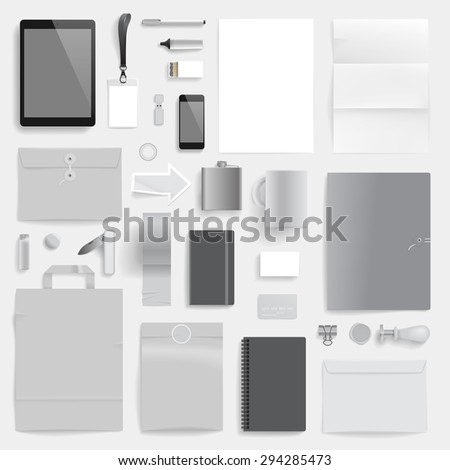 """Corporate identity template on light gray background. Use layer """"Print"""" in vector file to recolor objects. Eps-10 with transparency. - stock vector"""