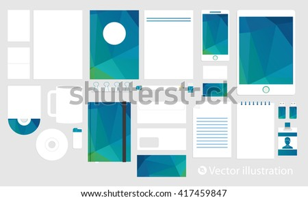 Corporate identity template set. Business stationery mock-up. Branding design. Colorful geometric background. - stock vector