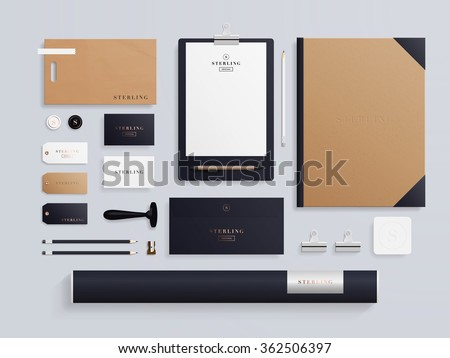 Corporate identity template set. Business stationery mock-up with logo template. Set of envelope, notebook, card, folder, paper bag, etc. Vector illustration. - stock vector