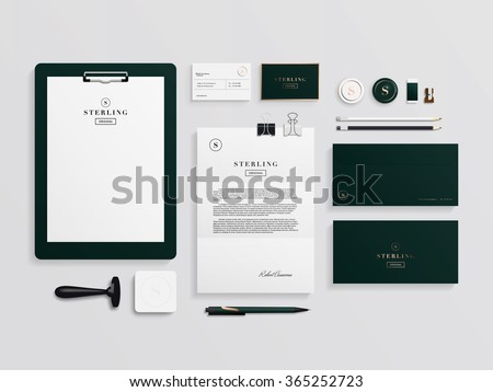 Corporate identity template set. Business stationery mock-up with logo template. Set of envelope, card, folder, etc. Vector illustration. - stock vector