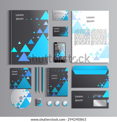 Corporate identity template with blue triangles on grey background. Vector company style for brandbook and guideline. EPS 10 - stock vector