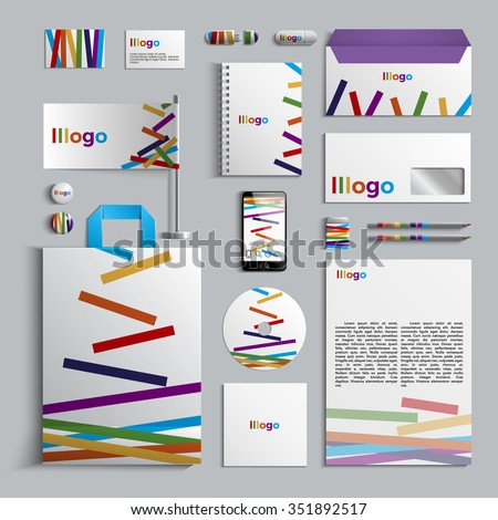 Corporate identity template with pattern of stripes. Colorful design. Vector company style for brandbook and guideline. EPS 10 - stock vector