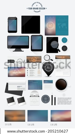 Corporate identity templates:blank, business cards,monitor, smart phone, disk, notepad, pen, envelope, badge, stationery, brand-book, tablet pc. Three Blur background,Vector illustrator - stock vector