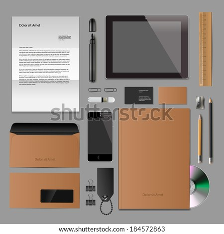 Corporate identity templates:blank, business cards, smart phone, disk, notepad, pen, envelope, badge, stationery, brand-book, portable console, tablet pc. Vector illustration.  - stock vector