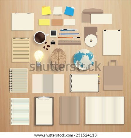 Corporate identity templates, With blank name card, envelope, notebook paper, folded paper, open book, magazine cover, paper bag, light bulb, brain, globe earth, Vector illustration modern design - stock vector