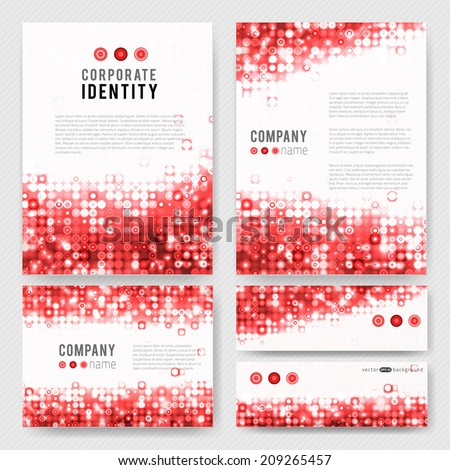Corporate Identity vector templates set with circle mosaic sparkling design elements. - stock vector