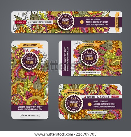 Corporate Identity vector templates set with doodles floral theme - stock vector