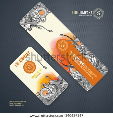 Corporate Identity vector templates set with doodles it theme in cartoon gray colors on watercolor background.  Office stuff, phone, wires with connectors, cup of coffee, clips. - stock vector