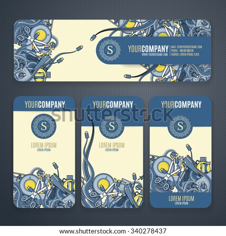 Corporate Identity vector templates set with doodles it theme in navy colors .  Office stuff, phone, wires with connectors, cup of cofee, clips. - stock vector