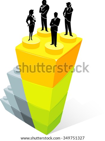 Corporate Leaders- Group of businessman on top of stack blocks - stock vector