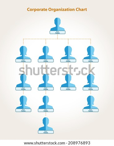 Corporate organization chart in blue and orange colors - stock vector