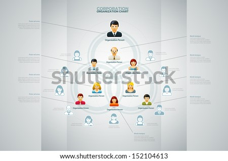 Corporate organization chart with business people icons. Vector illustration.  - stock vector