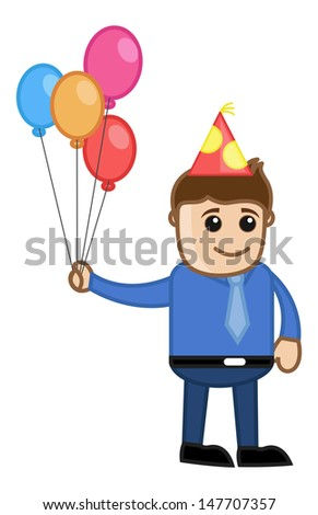 Corporate Party - Cartoon Business Character - stock vector