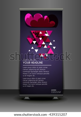 Corporate Roll up banner stand design. Vector. - stock vector
