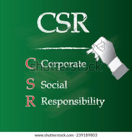 Corporate social responsibility concept on chalkboard, hand writing CSR on chalkboard vector,CSR concept - stock vector