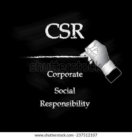 Corporate social responsibility (CSR) concept on chalkboard, hand writing CSR on chalkboard vector - stock vector