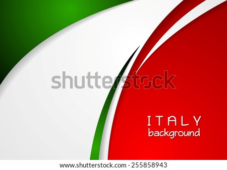 Corporate wavy abstract background. Italian colors. Vector design - stock vector