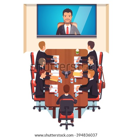 Corporation directors board at the conference call meeting with CEO at the video call projection screen. Flat style color modern vector illustration. - stock vector