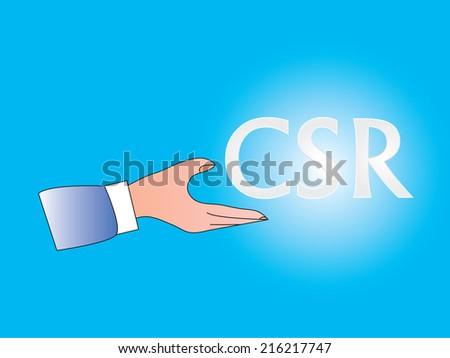 corporation social responsibility concept vector,hand vector - stock vector