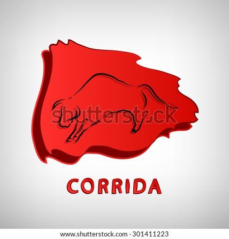corrida or bullfight logo icon vector - stock vector