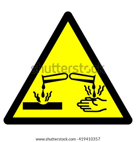 Corrosive material warning sign , vector illustration - stock vector