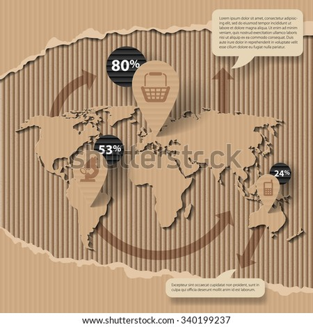 Corrugated cardboard business template with world map and icons. Web page design. Vector illustration - stock vector