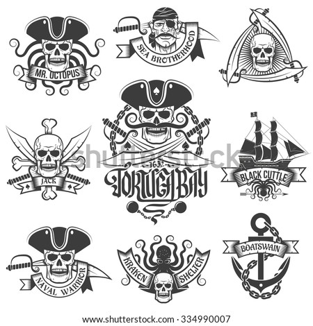 Corsair logo set in vintage style. Tattoos with pirate skulls. - stock vector