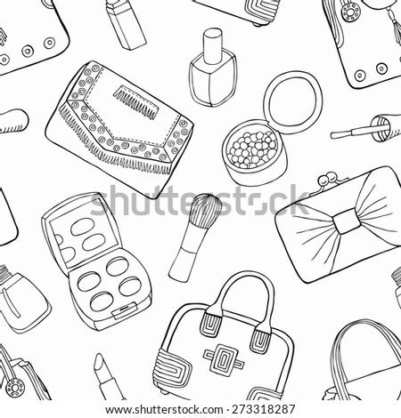 Cosmetic and bag seamless background. Vector illustration. - stock vector