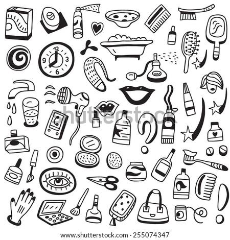 Cosmetic doodles - stock vector