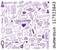 Cosmetic - doodles collection - stock vector