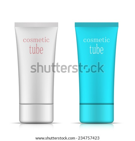 Cosmetic packaging, oval plastic tube template for your design. Vector. - stock vector