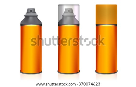Cosmetic spray bottles deodorant set isolated on white background. Orange color with transparent glass and plastic cover. Vector - stock vector