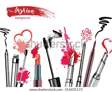 Cosmetics  and fashion background  with    make up artist objects: lipstick, mascara ,eyeliner,  lip liner. With place for your text .Template Vector. - stock vector