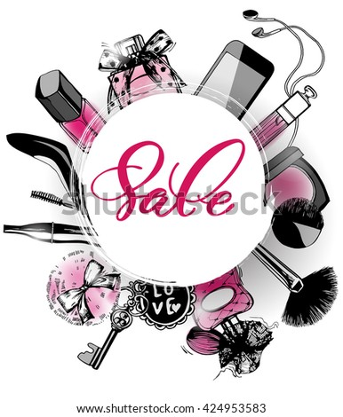 Cosmetics and fashion background with make up artist objects: women's black shoes, perfumes, nail Polish, keys with keychain, lip gloss, mascara, blush, powder brush, powder puff .. Sale Concept.   - stock vector