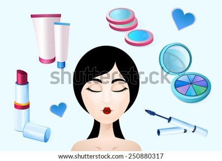 Cosmetics, beauty, health, makeup - stock vector