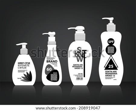 Cosmetics Bottle Packaging Vector - stock vector