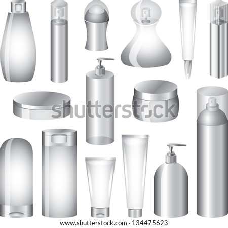 cosmetics bottles and packing photo-realistic vector set - stock vector