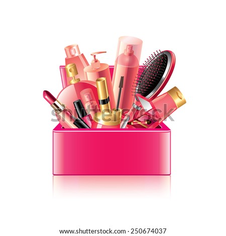 Cosmetics box isolated on white photo-realistic vector illustration - stock vector
