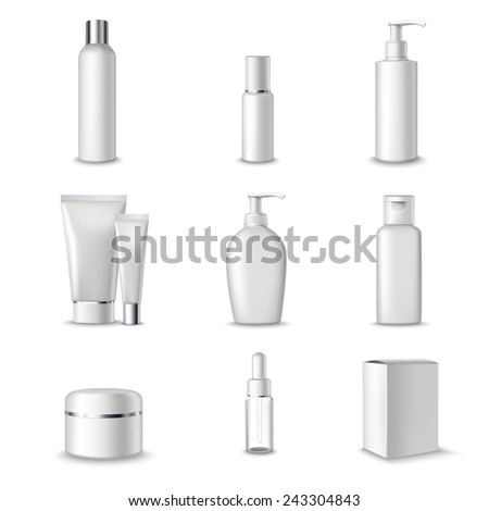 Cosmetics Packages Beauty Products Set Realistic 3d Isolated Vector Illustration - stock vector